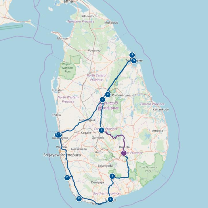 Itinéraire Sri Lanka pendant 1 mois